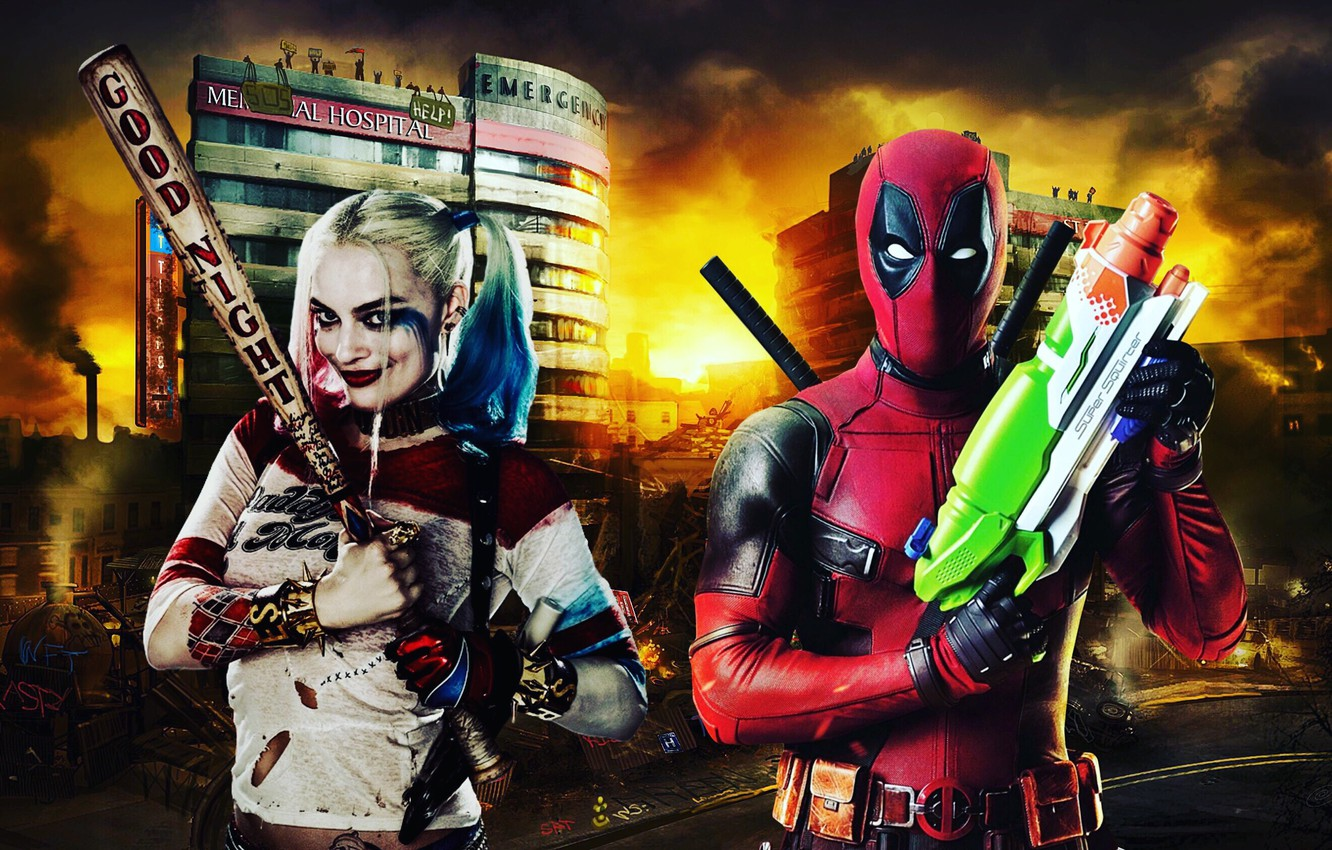 Wallpaper Marvel Deadpool Dc Comics Harley Quinn Images For