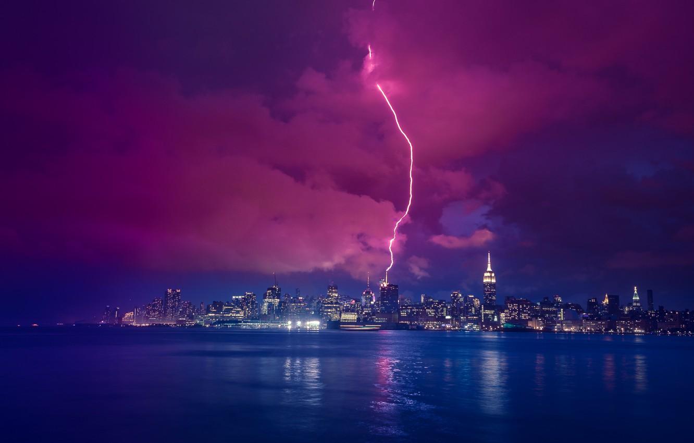 Photo wallpaper river, lightning, New York, night city, Manhattan, Manhattan, New York City, Hudson River, Hudson