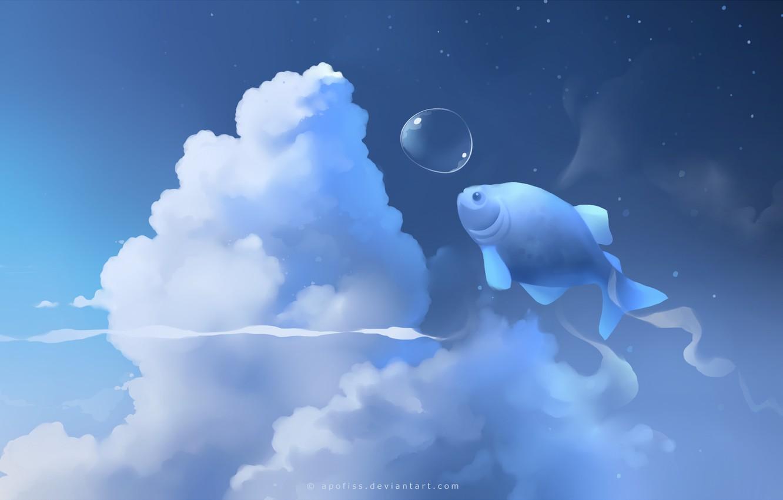 Photo wallpaper clouds, blue, fish, bubble, apofiss