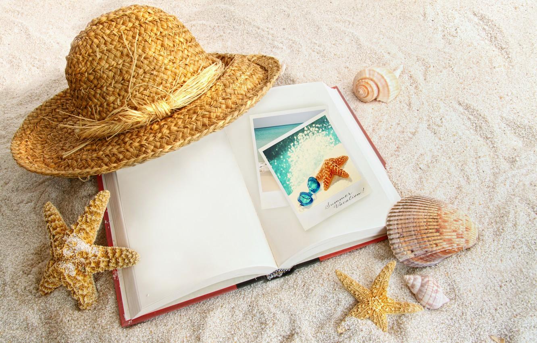Photo wallpaper sand, hat, book, shell, starfish
