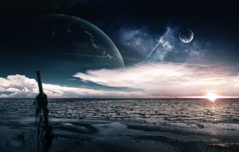 Photo wallpaper sea, the sky, clouds, shore, planet, post