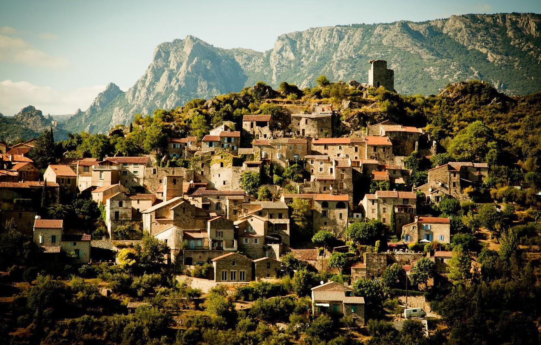 Photo wallpaper landscape, mountains, France, building, home, town, France