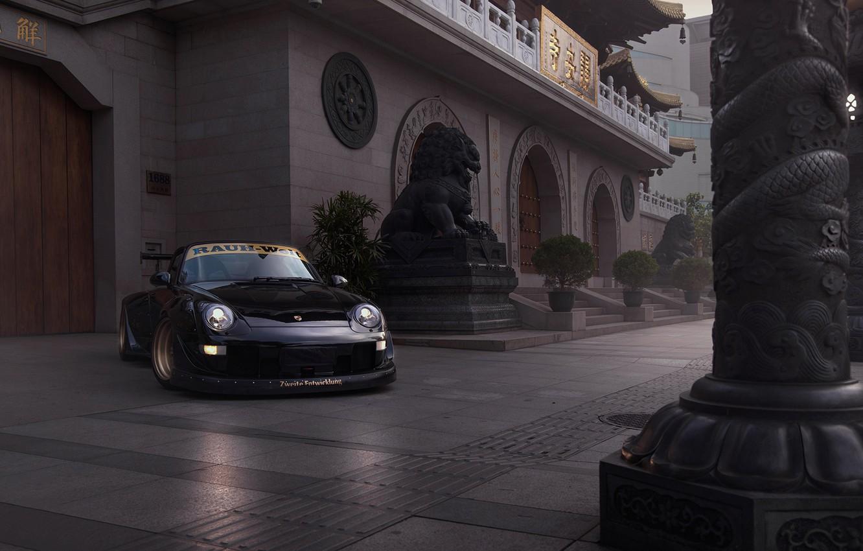 Photo wallpaper Porsche, Car, Race, Front, Black, Carrera, 993, RWB
