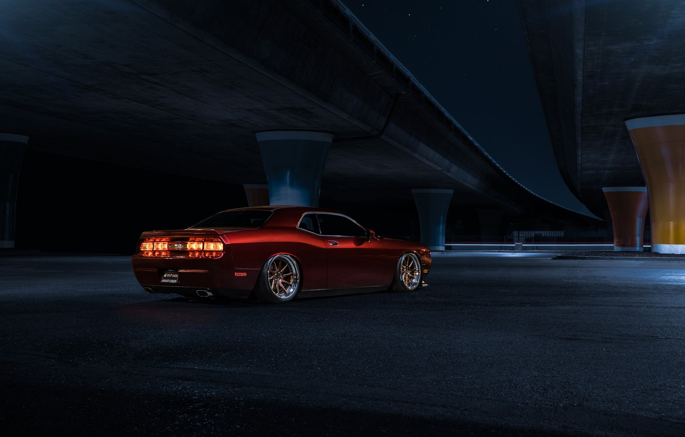 Photo wallpaper Muscle, Dodge, Challenger, Red, Car, Candy, American, Wheels, Before, Rear, Garde