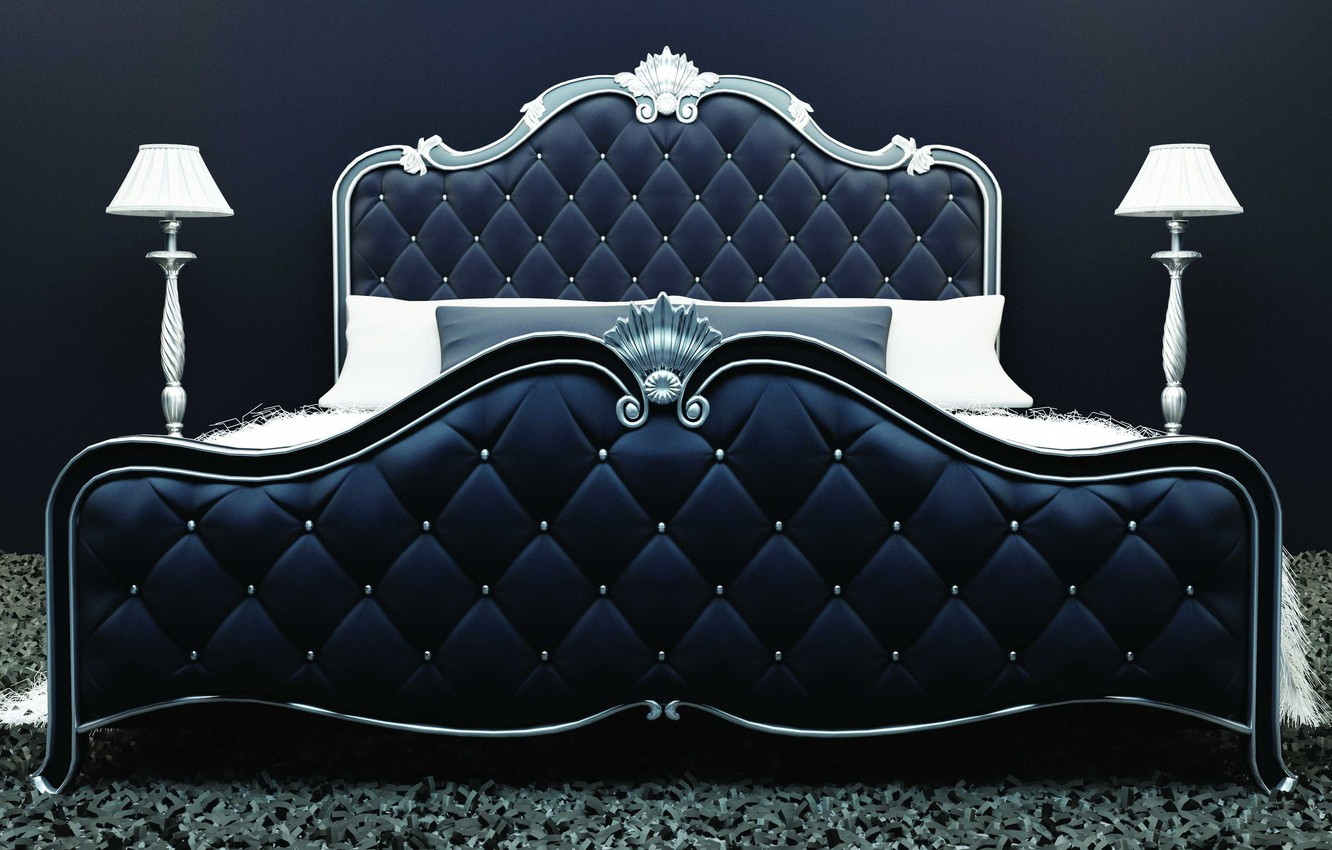 Photo wallpaper style, lamp, pillow, Bed, upholstery