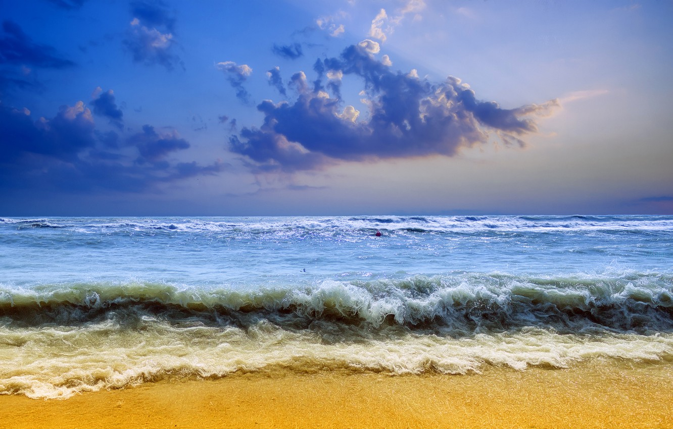 Photo wallpaper sand, sea, wave, the sky, clouds, storm, shore