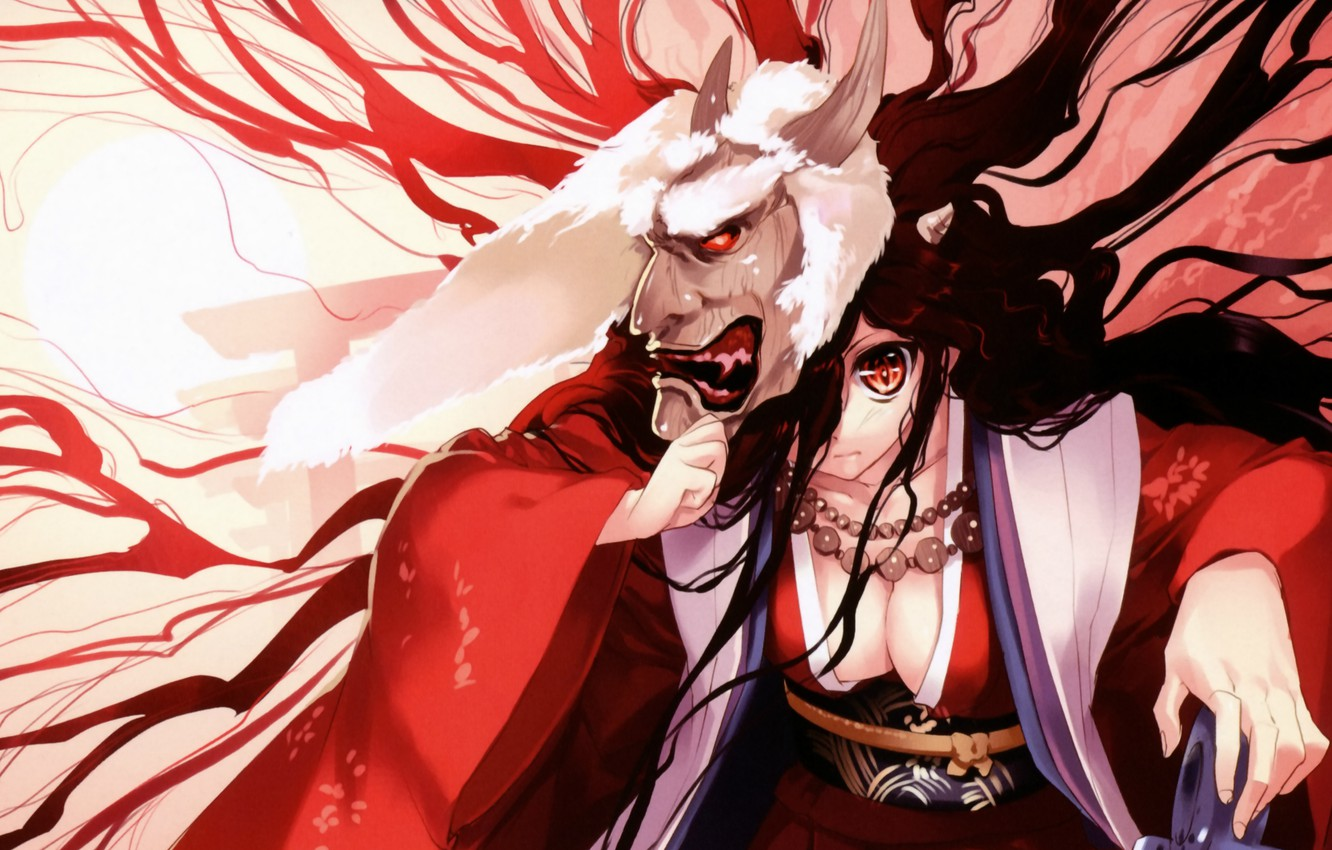 Photo wallpaper the demon, mask, horns, kimono, red eyes, the witch, art, ueda ryou
