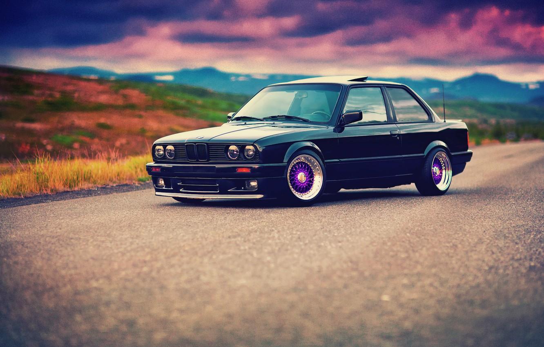 Photo wallpaper BMW, black, front, E30, BBS, 3 Series, 325i