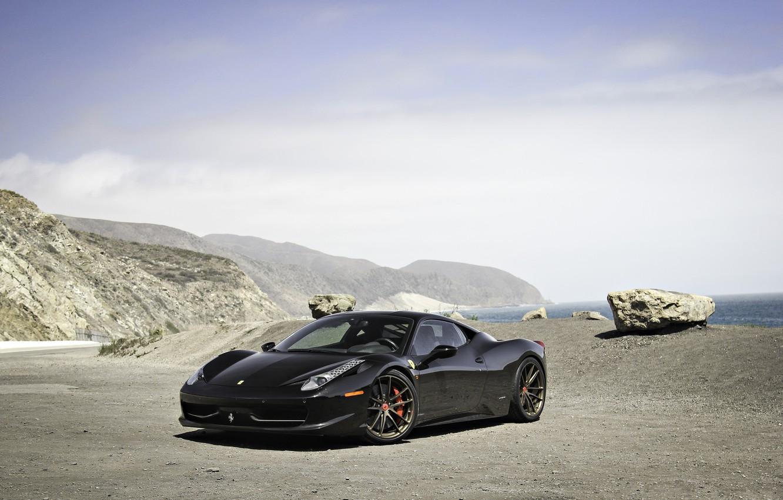 Photo wallpaper the sky, mountains, black, ferrari, Ferrari, black, Italy, 458 italia