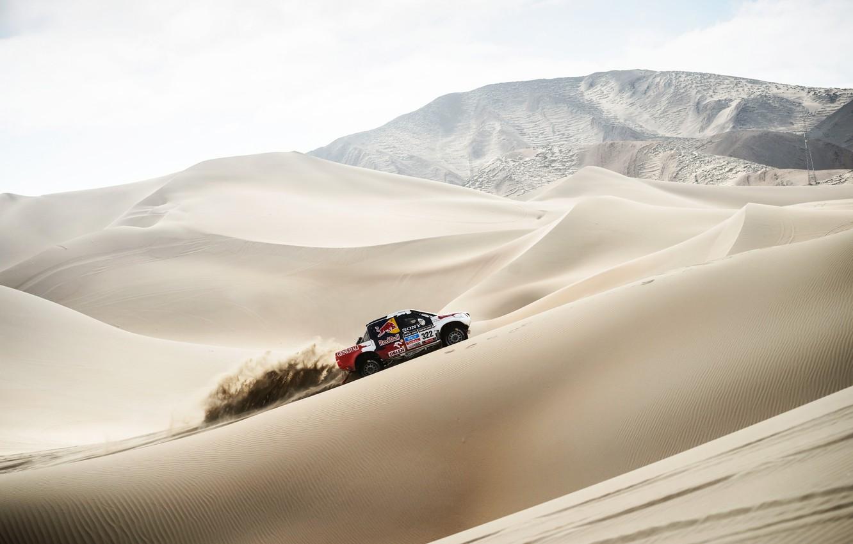 Photo wallpaper Sand, Auto, Machine, Day, Toyota, Rally, Dakar, SUV, Side view, Dune