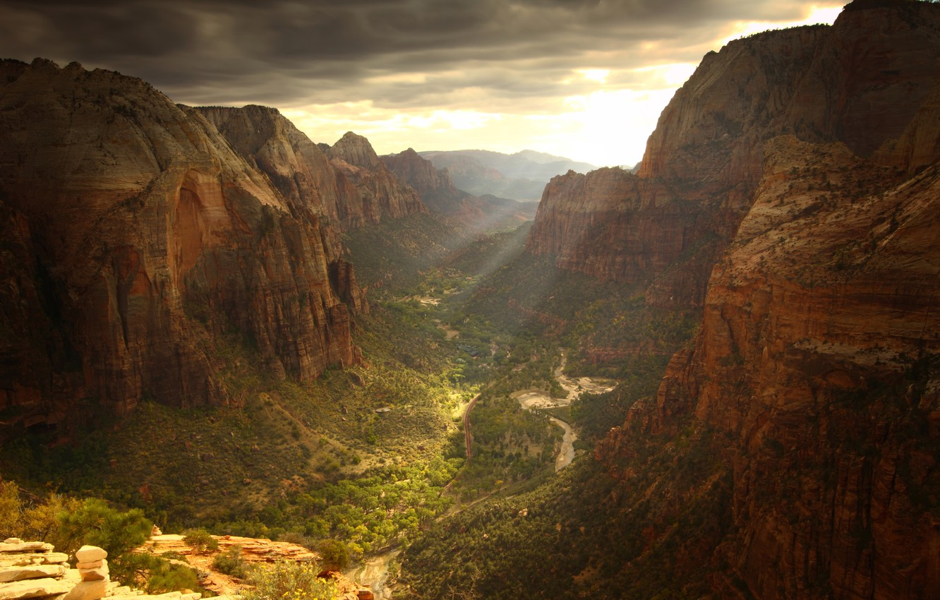 Photo wallpaper road, clouds, rocks, view, height, canyon, gorge, the sun's rays