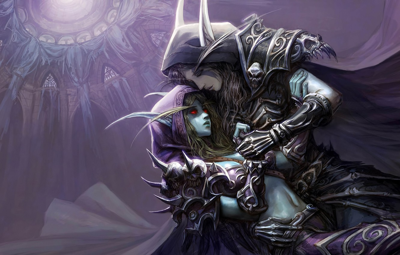 Photo wallpaper hugs, elves, temple, WoW, World of Warcraft, Silvana
