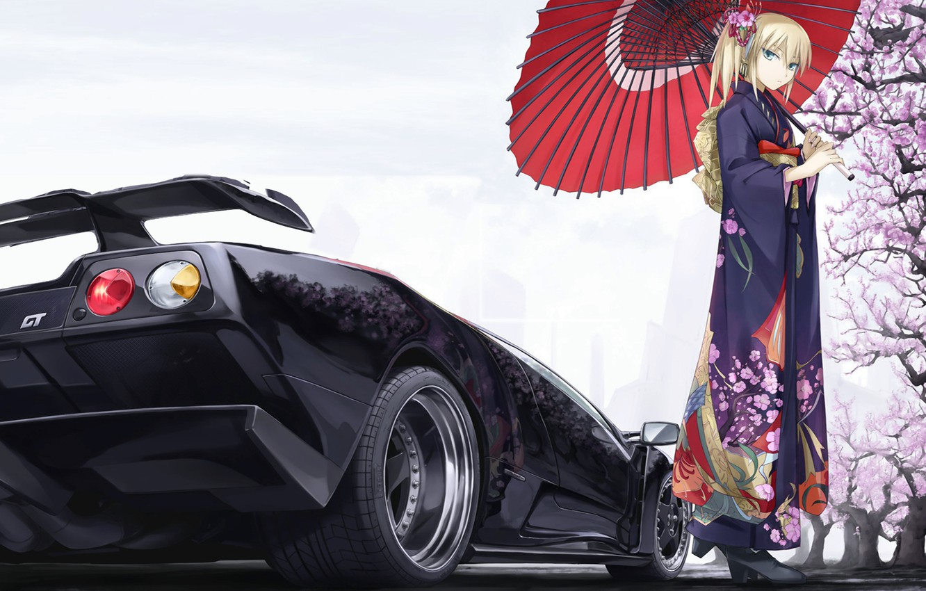 Photo wallpaper machine, girl, Sakura, Lamborhini Diablo GT