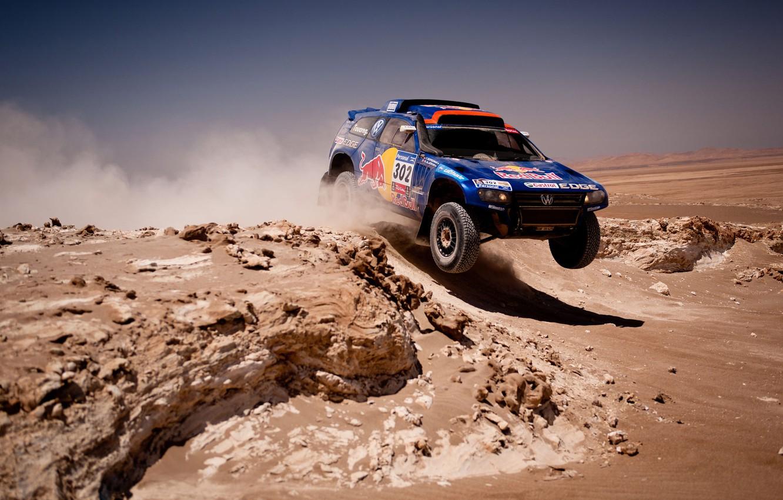Photo wallpaper Auto, Blue, Volkswagen, Desert, Machine, Race, Shadow, Jeep, Car, Touareg, Rally, Dakar, SUV