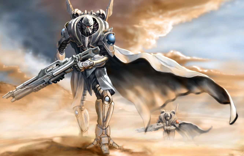 Photo wallpaper sand, the sky, weapons, fiction, desert, dust, robots, art, art