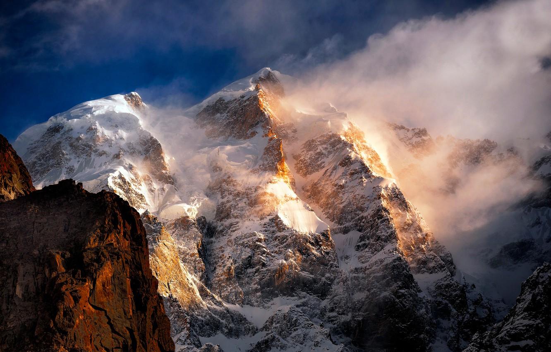 Photo wallpaper the sun, snow, mountains