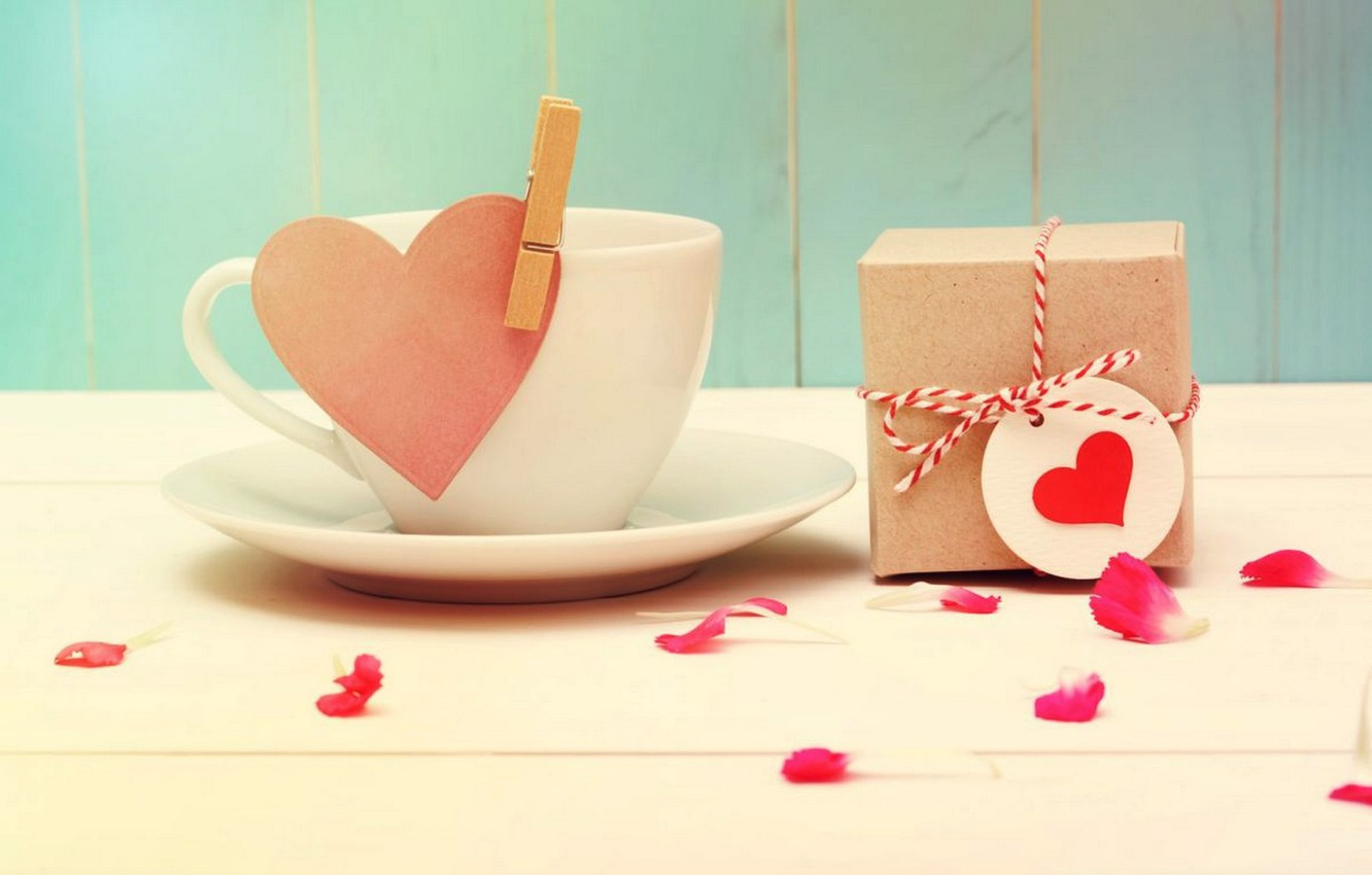 Photo wallpaper gift, romance, heart, Cup, Valentine's day, cup, hearts, Valentine's Day, gift, romance, with love
