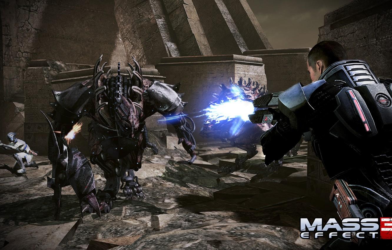 Photo wallpaper battle, Mass Effect 3, Liara, Shepard, Creature, Tuchanka