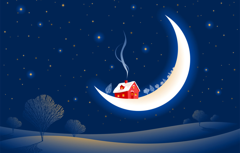 Photo wallpaper winter, snow, trees, smoke, stars, a month, house, fabulously