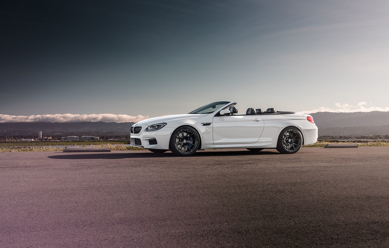 Photo wallpaper BMW, Front, White, Forged, Convertible, Wheels, Strasse