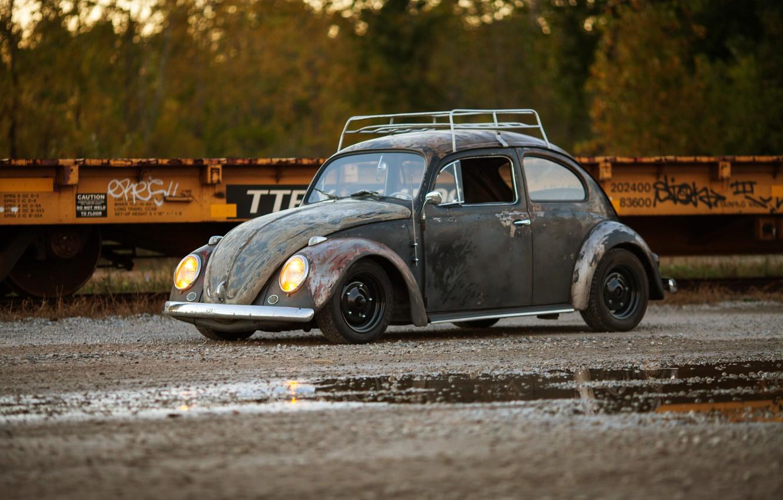 Photo wallpaper volkswagen, beetle, Old, Rusty