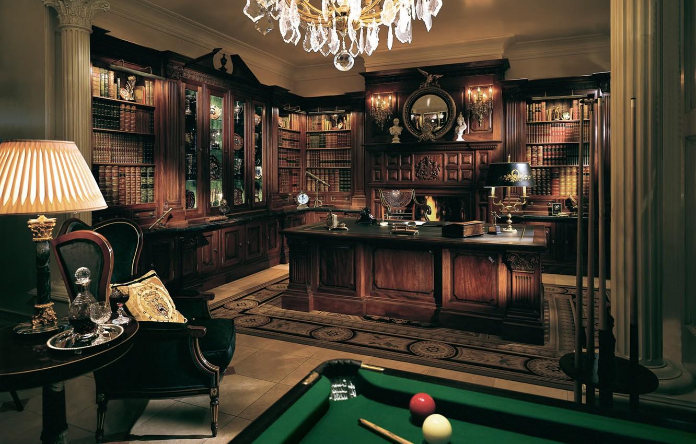 Photo wallpaper style, table, balls, furniture, books, lamp, interior, chair, Billiards, office, table, interior, classics, office, private, …