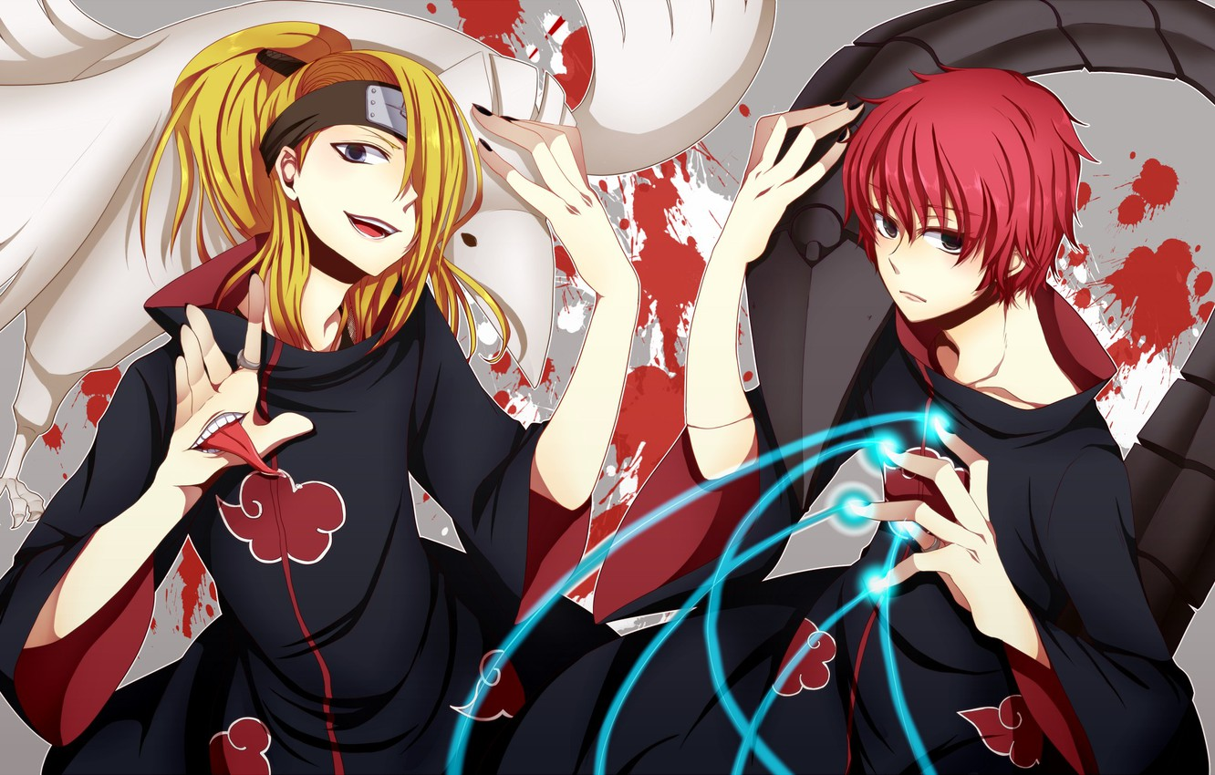 Photo wallpaper language, smile, blood, ring, male, blue eyes, cloak, bandana, naruto, long hair, lacquer, short hair, …