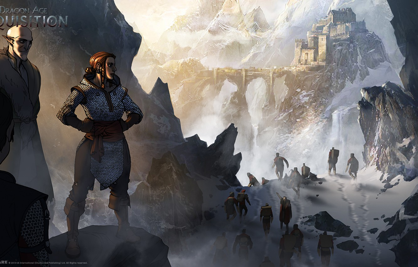 Wallpaper Snow Mountains Hike Dragon Age Inquisition