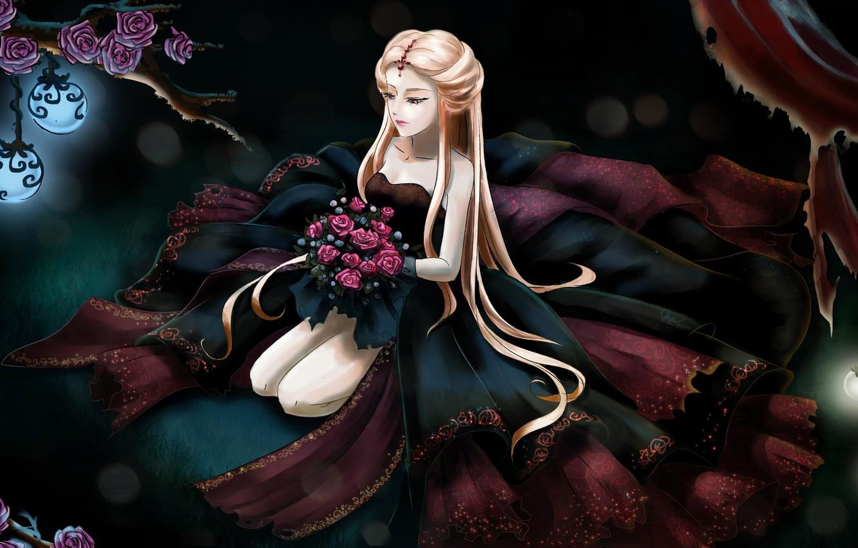 Photo wallpaper grass, light, flowers, face, hair, roses, bouquet, anime, hands, dress, lights, long, girl. sitting