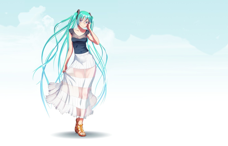 Photo wallpaper girl, smile, anime, art, vocaloid, hatsune miku, takouji