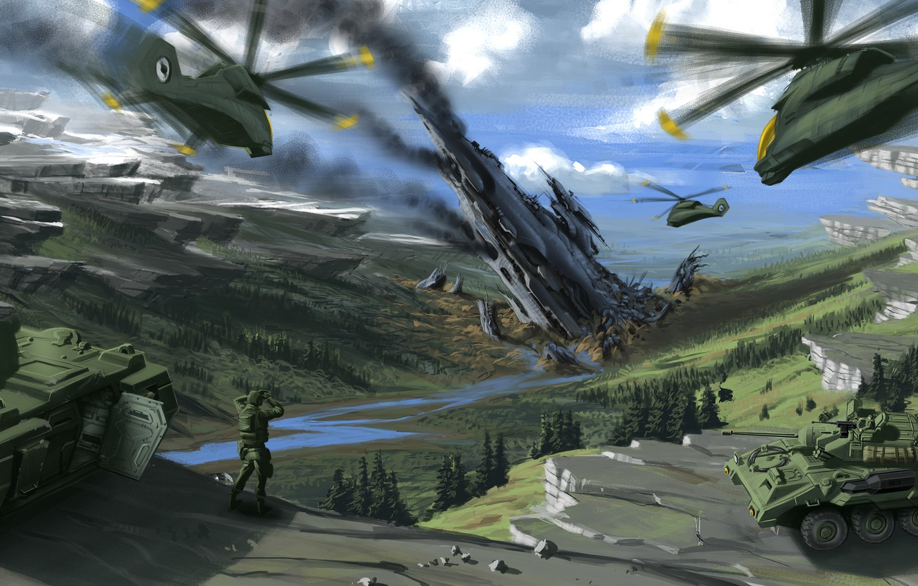 Photo wallpaper mountains, war, helicopters, art, soldiers, tanks