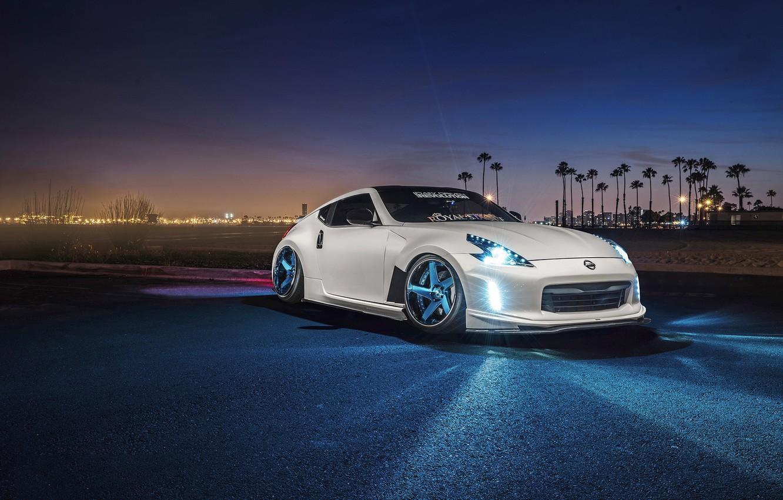 Photo wallpaper Nissan, Front, Night, White, 370Z, Stance, Garage, Before