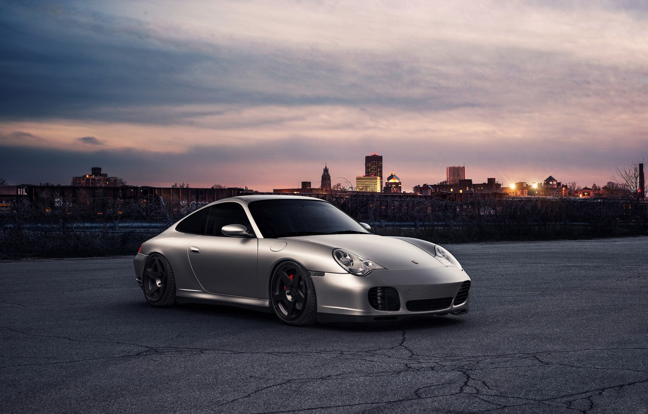 Photo wallpaper sunset, the city, 911, Porsche, horizon, front, silvery