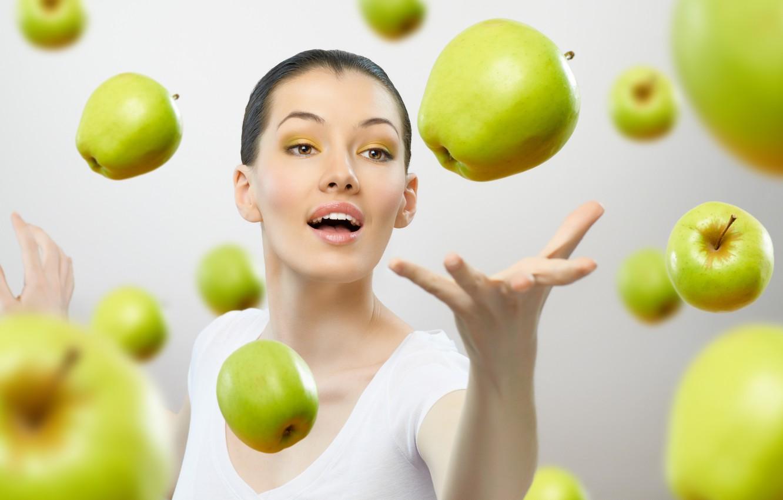 Photo wallpaper look, girl, apples, brown hair, brown-eyed