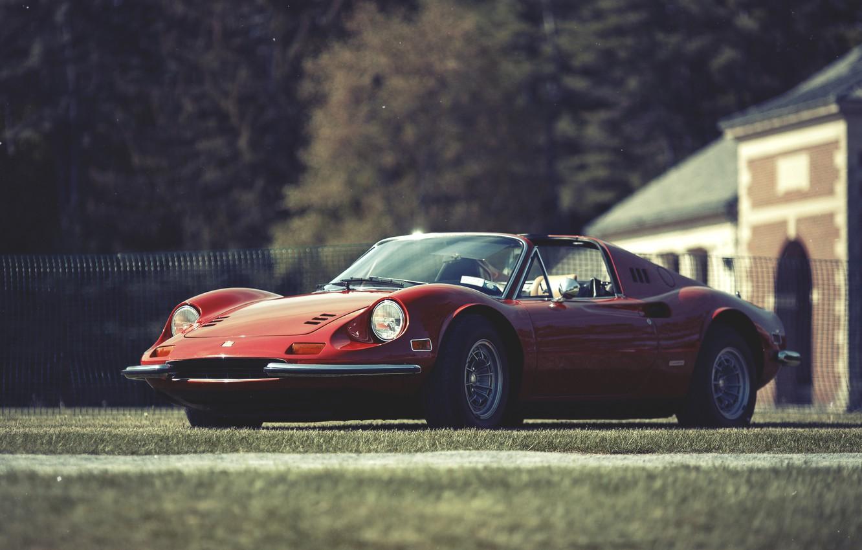 Photo wallpaper red, Ferrari, Ferrari, Dino, Dino, 246, GT red