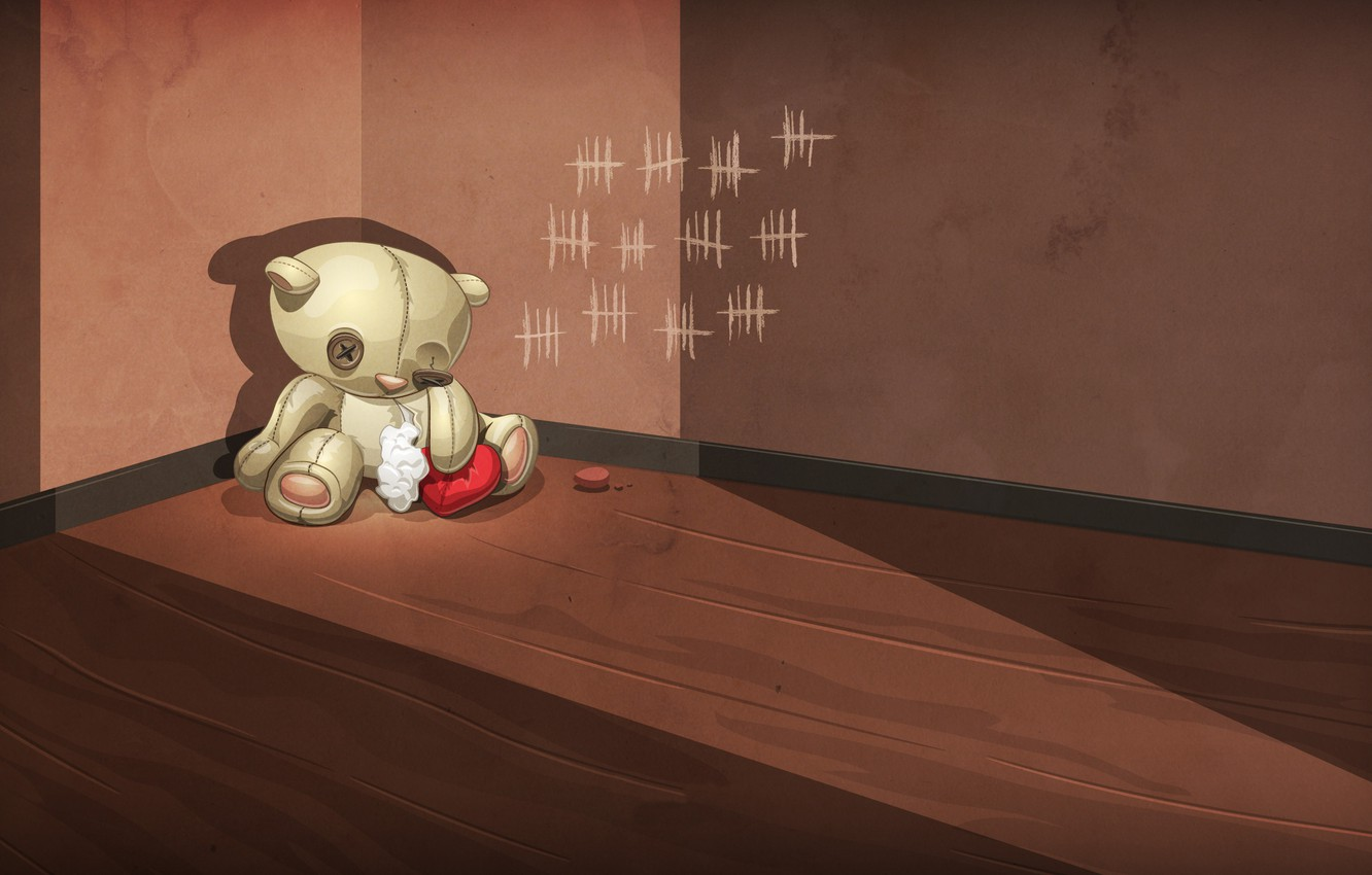 Photo wallpaper sadness, abandoned, loneliness, wall, sadness, betrayal, toy, heart, bear, bear, angle, floor, wounded, wool, notches