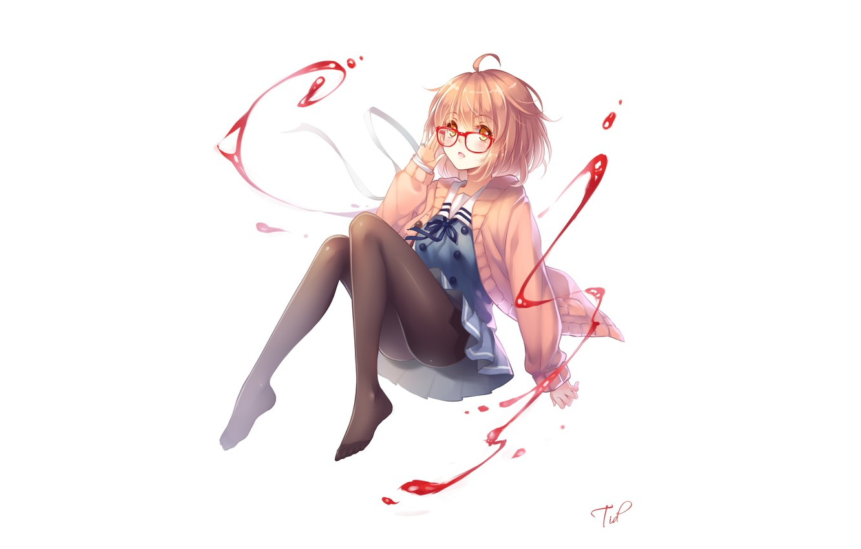 Photo wallpaper look, girl, smile, magic, glasses, white background, art, tidsean, kyoukai no kanata, mirai kuriyama