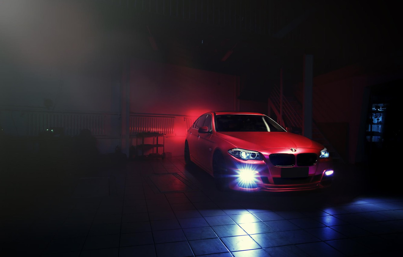 Photo wallpaper red, BMW, BMW, red, Blik, F10, Sedan, 5 Series