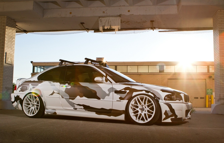 Photo wallpaper the sun, machine, BMW, BMW, camouflage, bumper, E46, kit