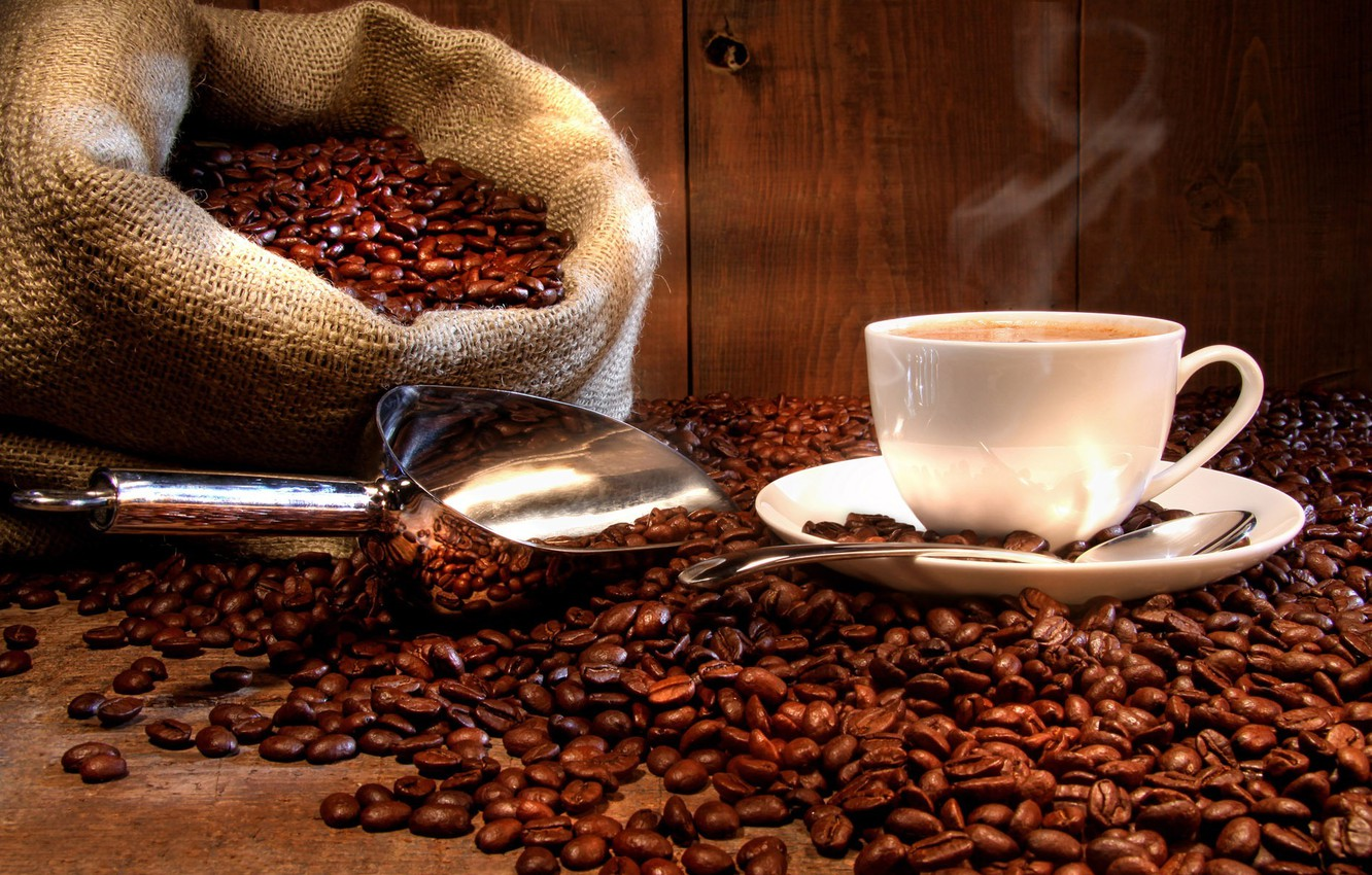 Photo wallpaper Cup, bag, Coffee beans