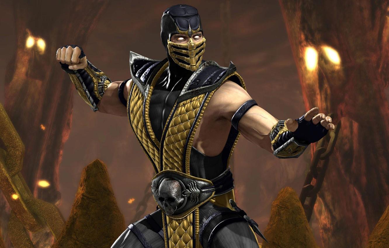 Photo wallpaper ninja, Scorpion, mortal kombat