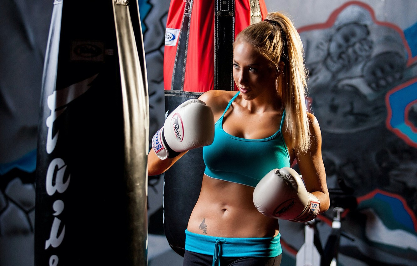 Photo wallpaper boxing, blonde, training, athletic wear
