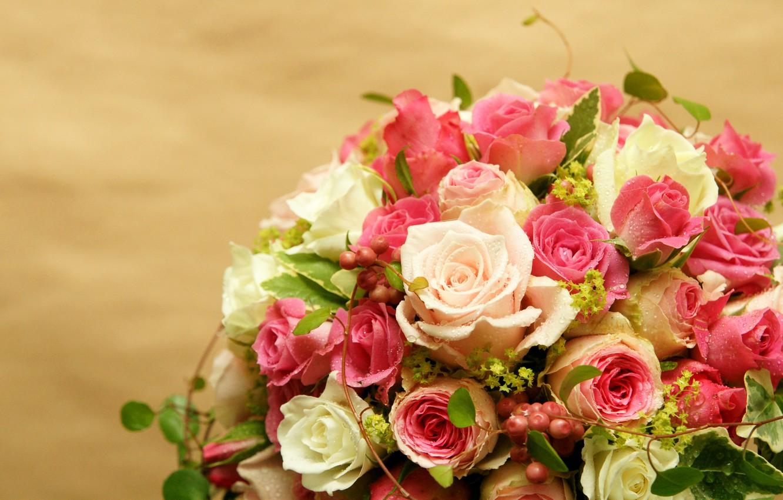 Photo wallpaper drops, roses, bouquet, Roses, chic, Bouquets