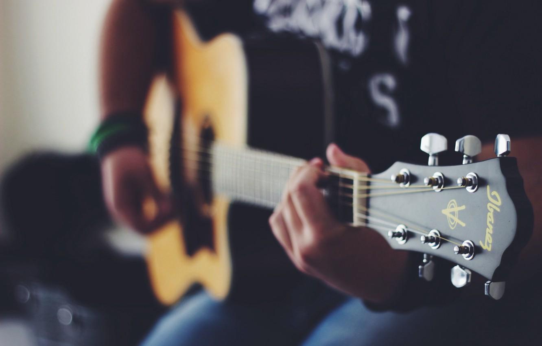 Photo wallpaper guitar, strings, hands, plays, musical instrument