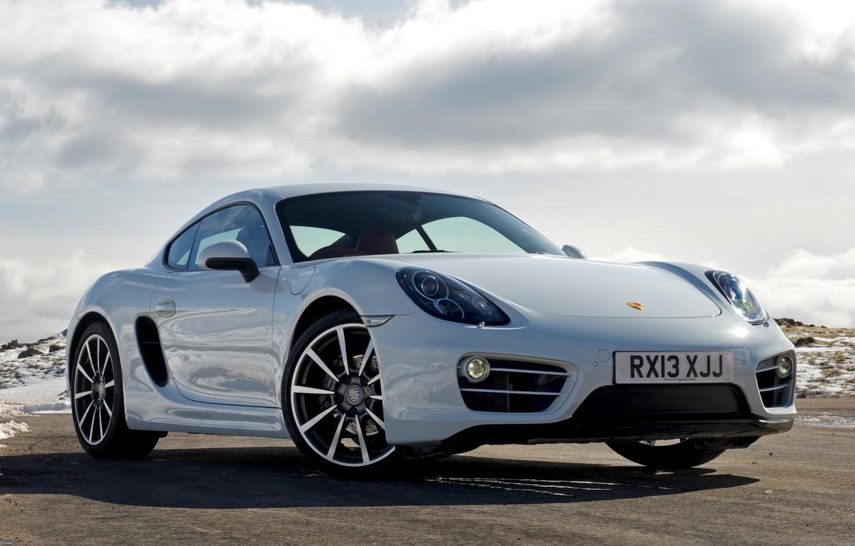 Photo wallpaper auto, the sky, Wallpaper, Porsche, Cayman, Porsche, the front, handsome