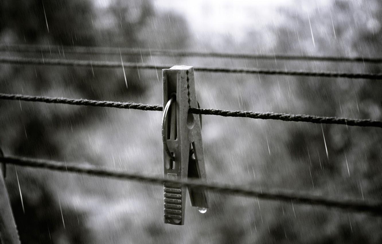 Photo wallpaper autumn, squirt, rain, drop, Clothespin, rope