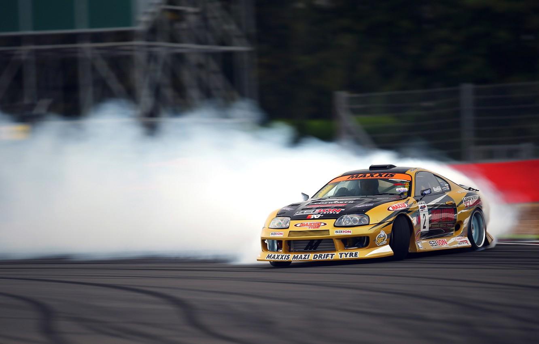Photo wallpaper Toyota, Drift, Supra, Smoke, Tuning, Competition, Sportcar