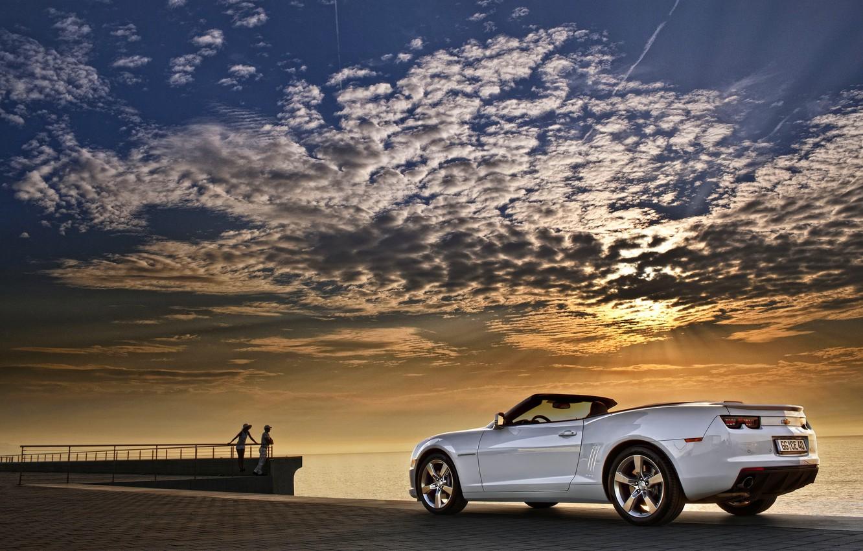 Photo wallpaper Sunset, The sky, Clouds, Sea, White, Chevrolet, Machine, Convertible, Camaro