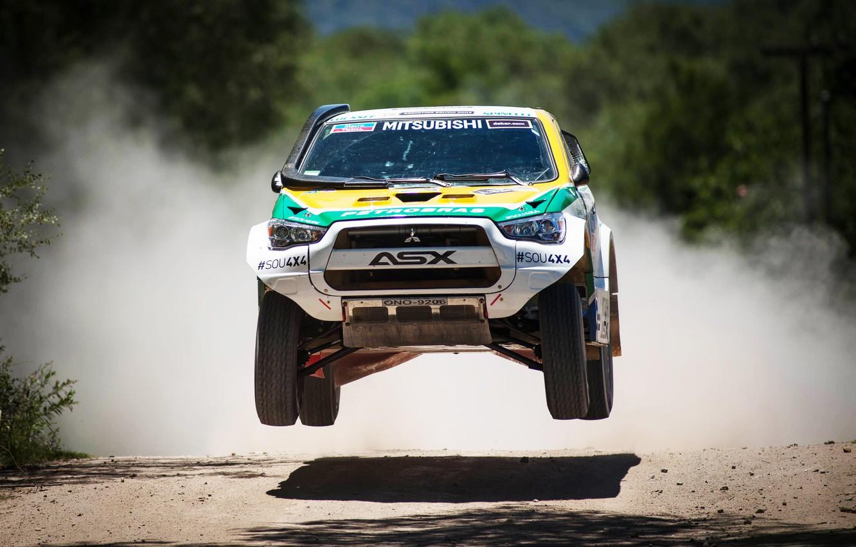 Photo wallpaper Sport, Machine, Speed, Race, The hood, Day, Mitsubishi, Lights, Rally, Dakar, SUV, In the air, …