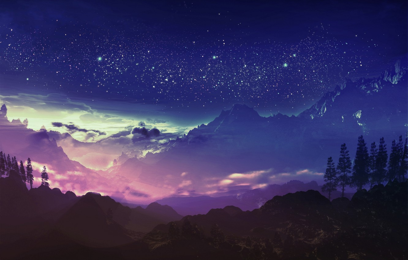 Photo wallpaper the sky, stars, clouds, mountains, night, art, and-k